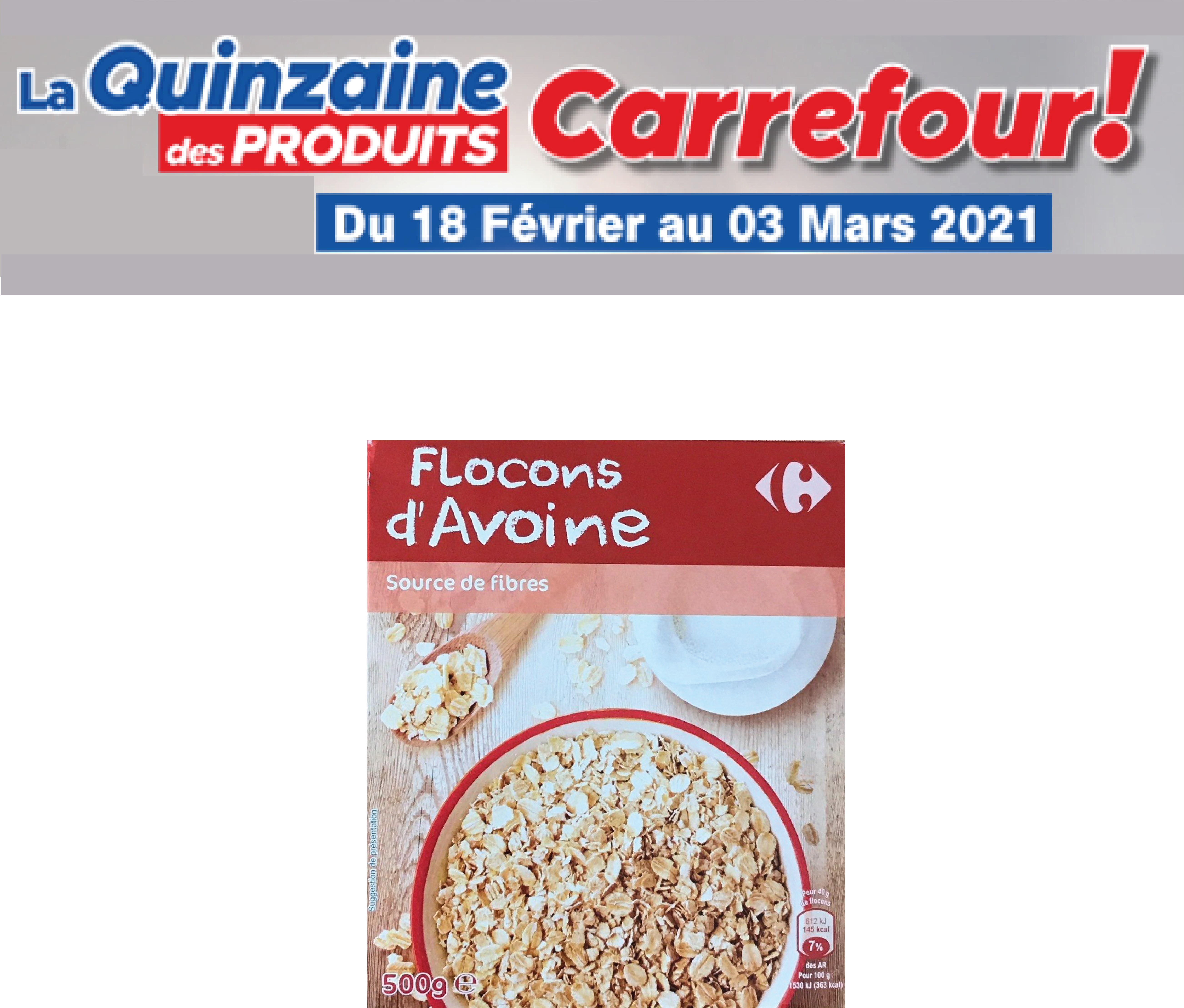 Flocons d'avoine Carrefour 500g