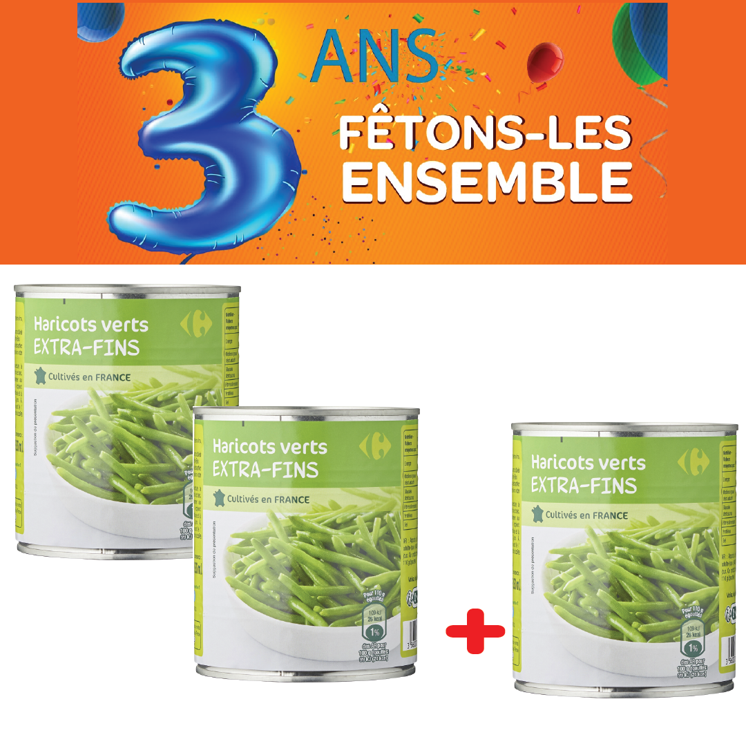 Haricots extra fins Carrefour